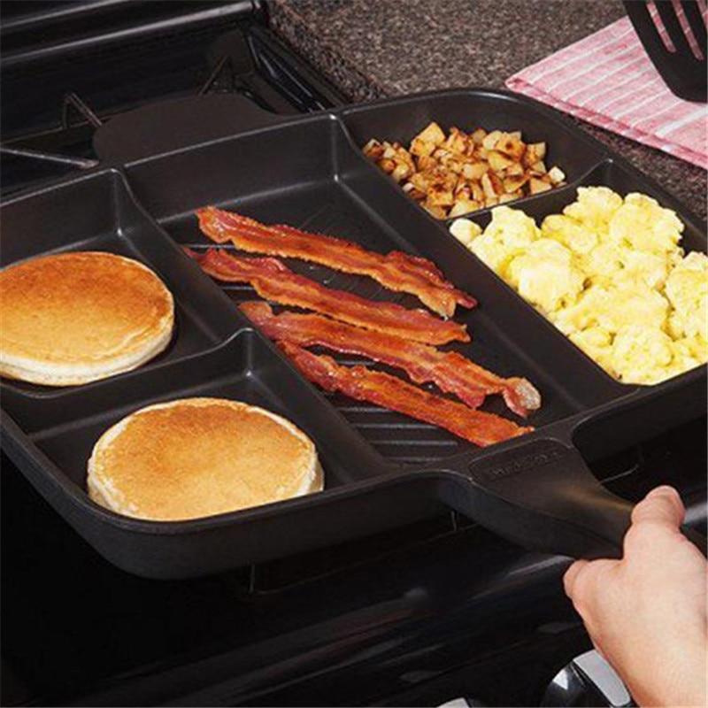 Five In One Separated Multifunctional Black Square Baking Pan Never Rust Uniform Heat Aluminum Material Pan