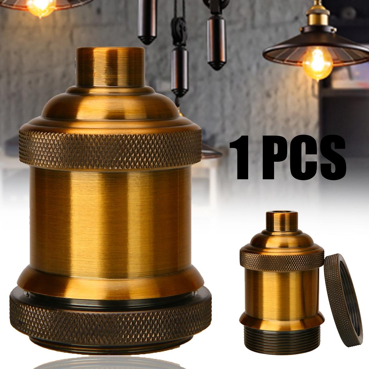 BQLZR Bronze Retro ON//OFF Switch Socket Bronze Alloy Wooden Base E27 Threaded Ceiling Bulb Lamp Holder