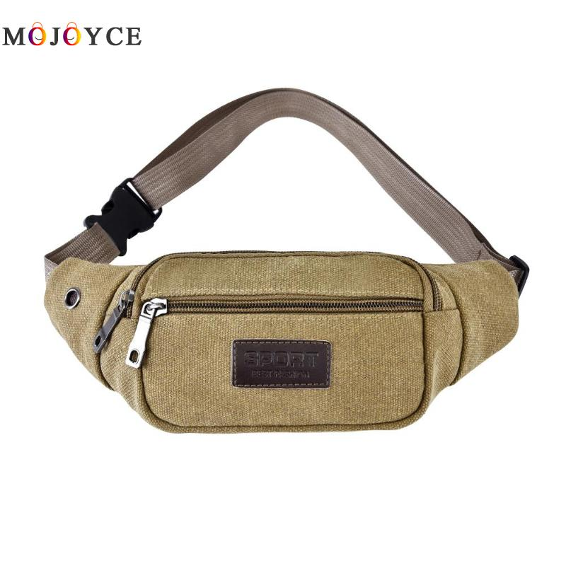 Men Casual Waist Packs Shoulder Messenger Fanny Packs Male Belt Bags Crossbody Canvas Chest Bags