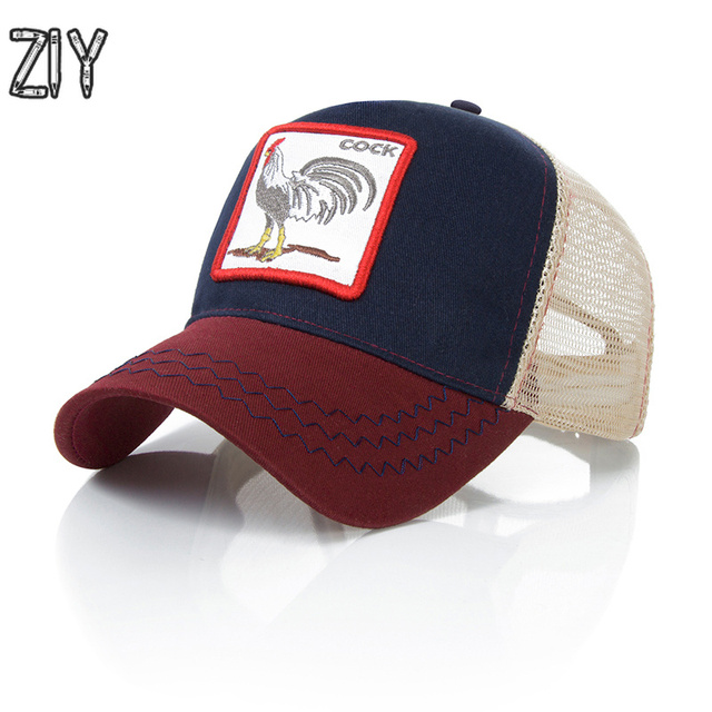 2018 Summer Baseball Cap Men Women Mesh Ponytail Snapback Cap Bone Animal  Embroidery Hip Hop Streetwear Sports Trucker Brand Cap 564768582b5