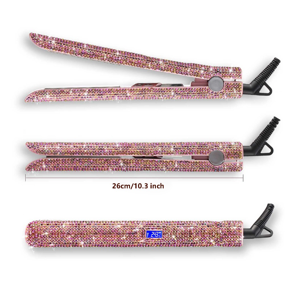 Rose Gold Hand Made Sparkling Crystal Diamond Rhinestone Lcd Digital Display Flat Iron Crystal Gems Titanium Hair Straightener