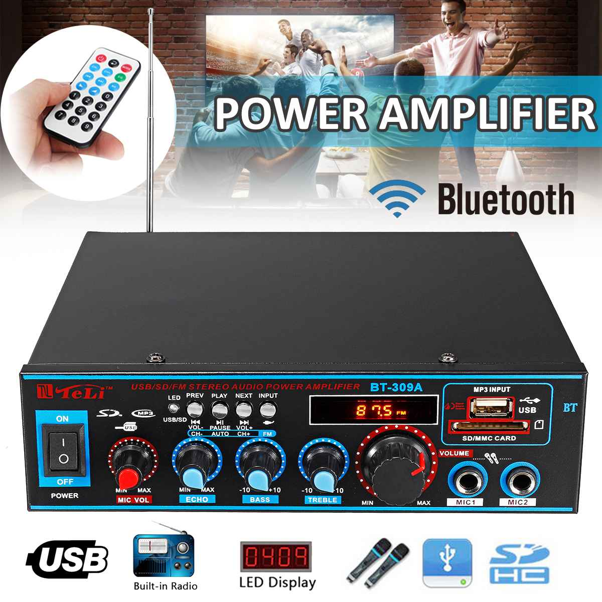 Car-Audio Amplifier Subwoofer Remote-Control HIFI Stereo Home Theater 2CH 800W 12V/220V