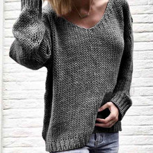 Spring Autumn Sweater Women Fashion Sexy V-Neck Sweater Casual Loose Long Sleeve Plus Size Pullover Jumper Tops Lady Knitwear(China)