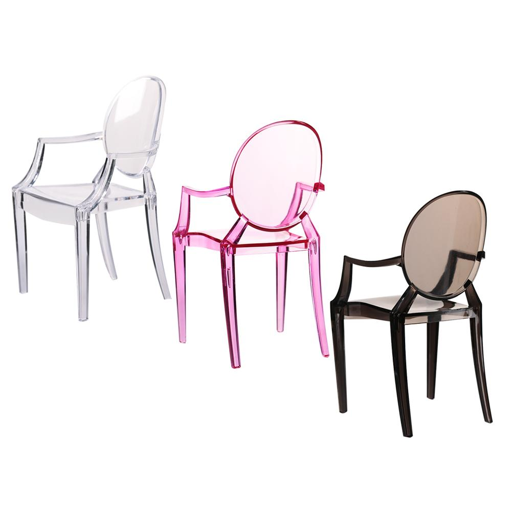 1:6 Scale Doll House Miniature Armchair Plastic Chair Furniture Chair For Children Dolls Furniture Accessories Translucent Color