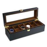 Top Quality 6 Slots Watch Organizer Display Case Wood Luxury Glass Top Wristwatch Box For Men Women