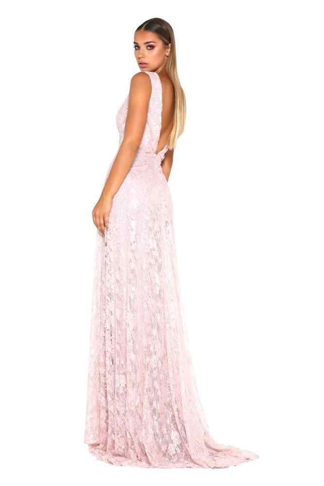 ... Lace Pink Prom Dresses 2018 Deep V-neck A-line Sleeveless Leg Slit Long fc9b8062046a