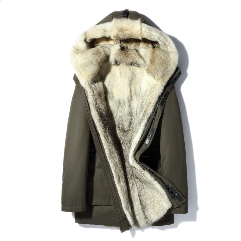 Parka con capucha de piel de lobo Real 2018 nuevo abrigo de invierno Parkas de piel auténtica gruesa para hombre chaqueta de piel Natural