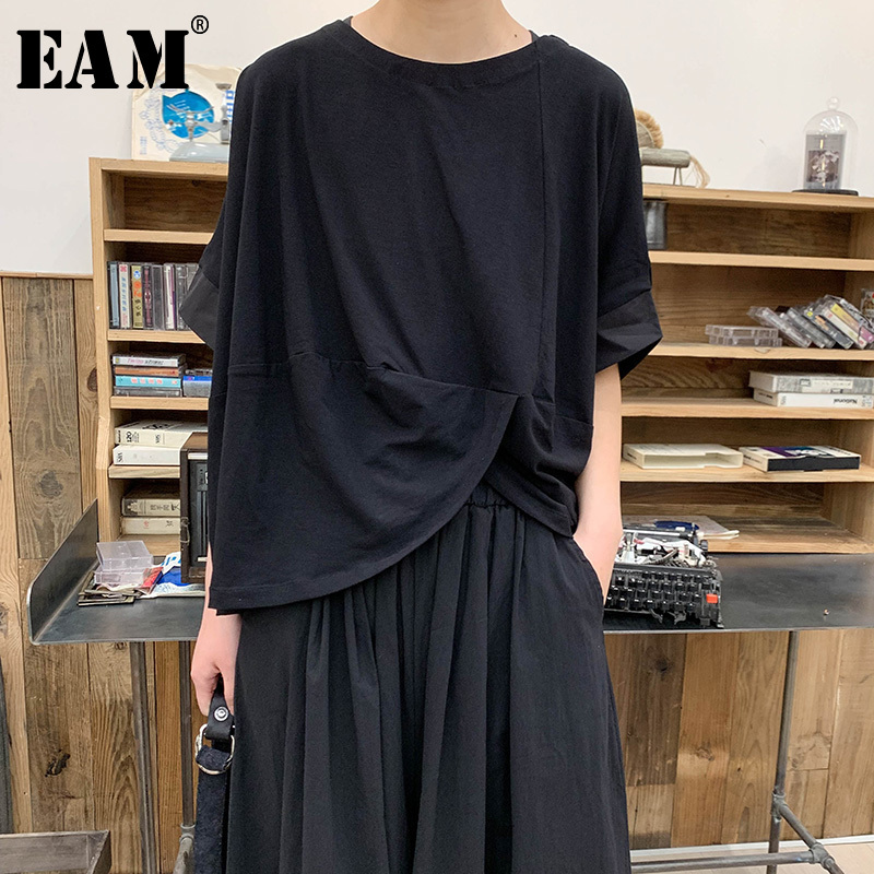 [EAM] 2019 New Spring Summer Round Neck Short Sleeve Black Hem Knot Irreular Split Joint Loose T-shirt Women Fashion Tide JS777