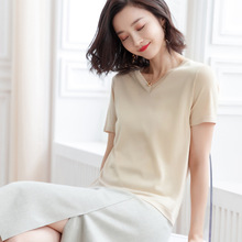 2019 New arrival short-sleeved knitted t-shirt women loose thin knitting T-shirt speing and summer female F9949 цены