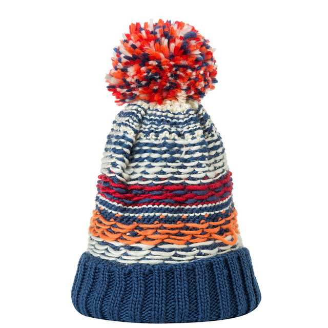 86fb10739 US $3.05 32% OFF|IANLAN New Casual Winter Pompom Hats For Women Colorful  Knit Beanies Hats Girls Fashion Striped Hat Cap Knit Woolen Hats IL00060-in  ...