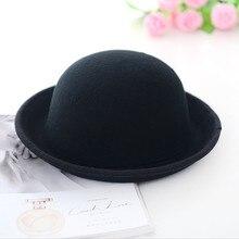 Винтажная Женская шерстяная фетровая шляпа-котелок с широкими полями для девушек