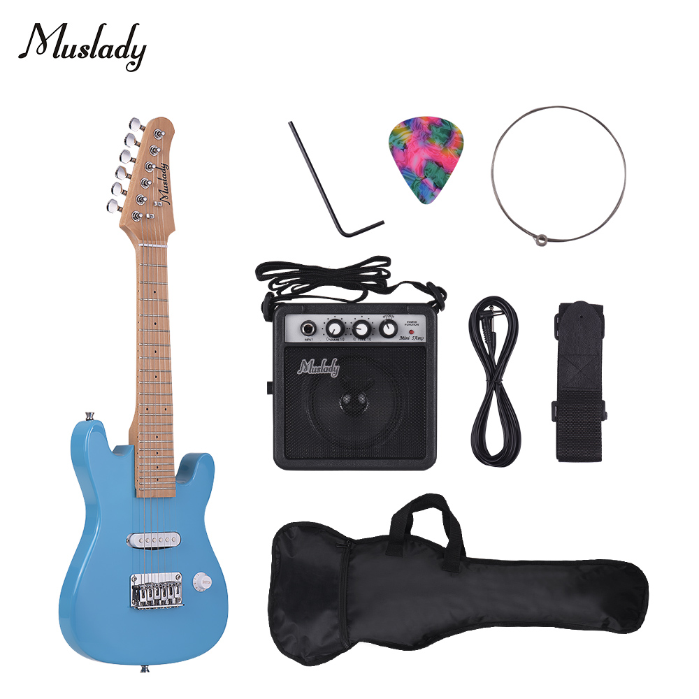 Muslady 28 pouces enfants ST Kit de guitare électrique avec Mini amplificateur sac de guitare sangle choisir chaîne câble Audio Style droitier