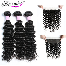 Bigsophy Hair Deep Wave 100% Remy Human Extension Peruvian Weave Bundles 3 And 13*4 Lace Frontal Closure