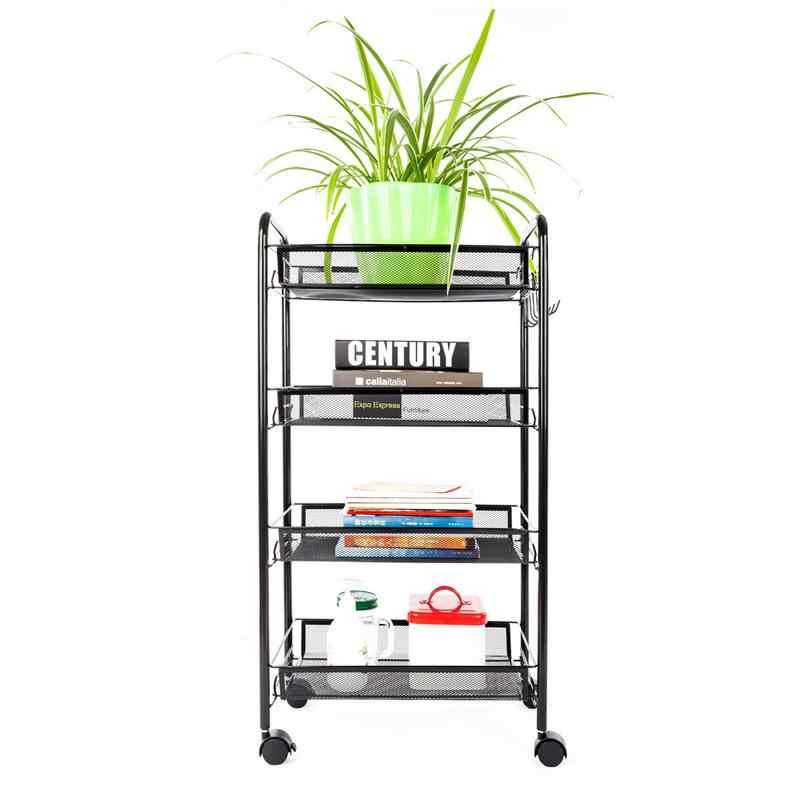 Exquisite Honeycomb Net Four Tiers Storage Cart With Hook Black Home Living Room Bedroom Storage Rack