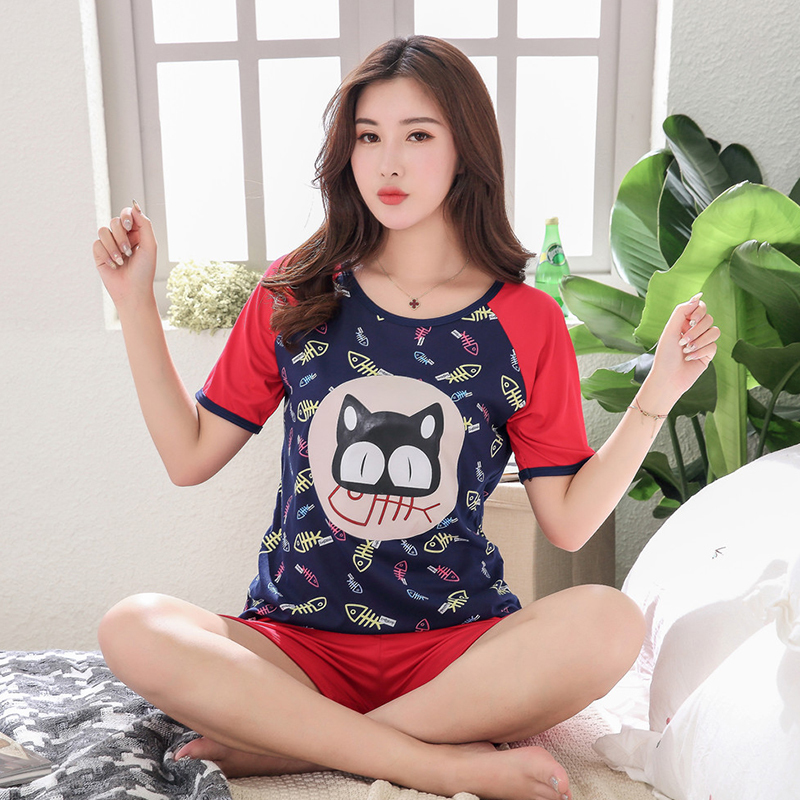 5XL   Pajamas     Sets   Cotton Nightwear Big Yards Cartoon   Pajamas   Women Summer Sleepwear Short Pyjama   Sets   Homewear Pijamas Mujer
