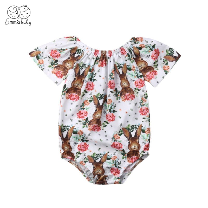 2019 Brand New Easter Newborn Baby Girls Clothes Bunny Flowers Romper Jumpsuit Outfits Summer