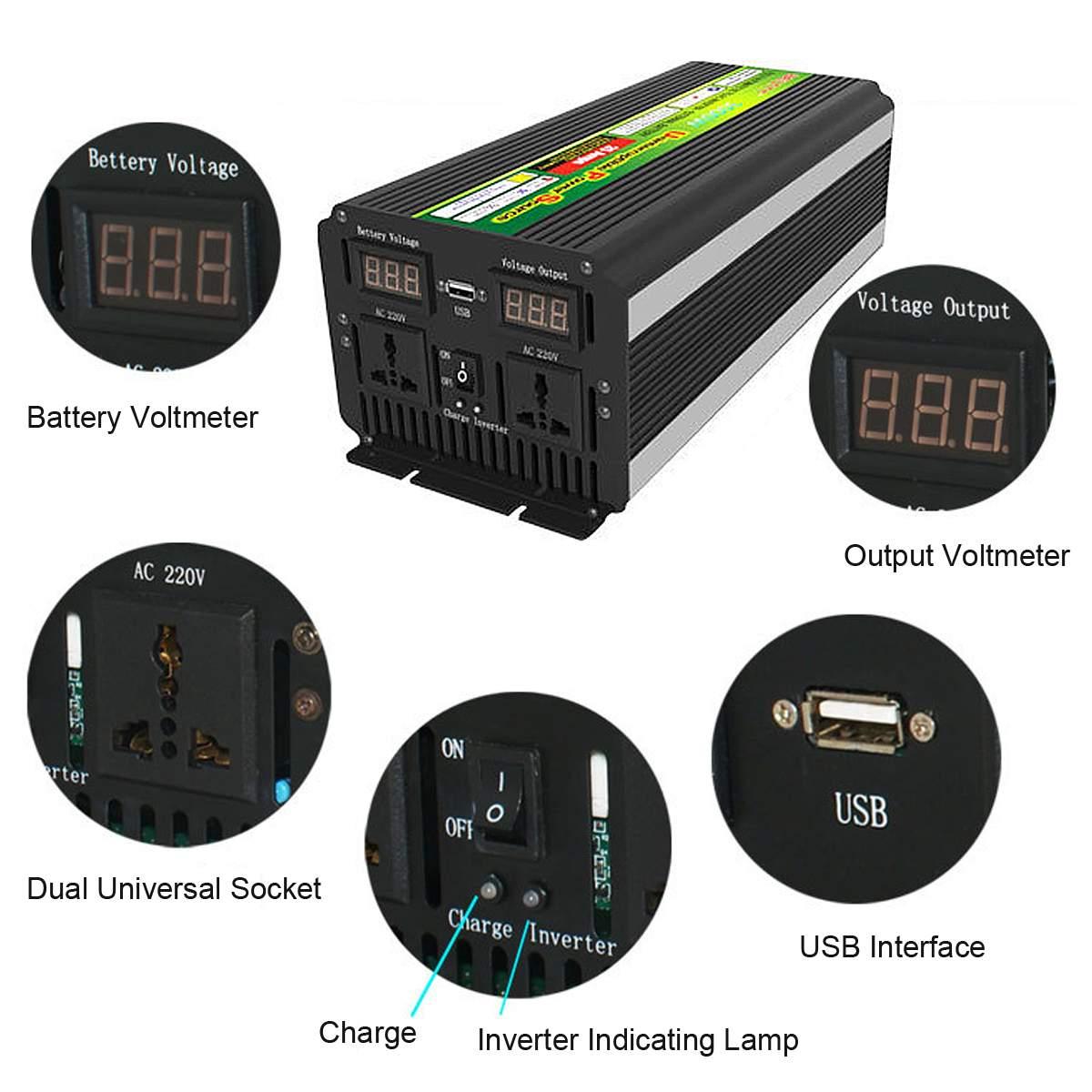 10000W (Peak) 12/24V Zu 220V UPS Power Inverter für Solar/Wind Aufladbare LCD display 5000Watt Geändert sinus Welle Konverter