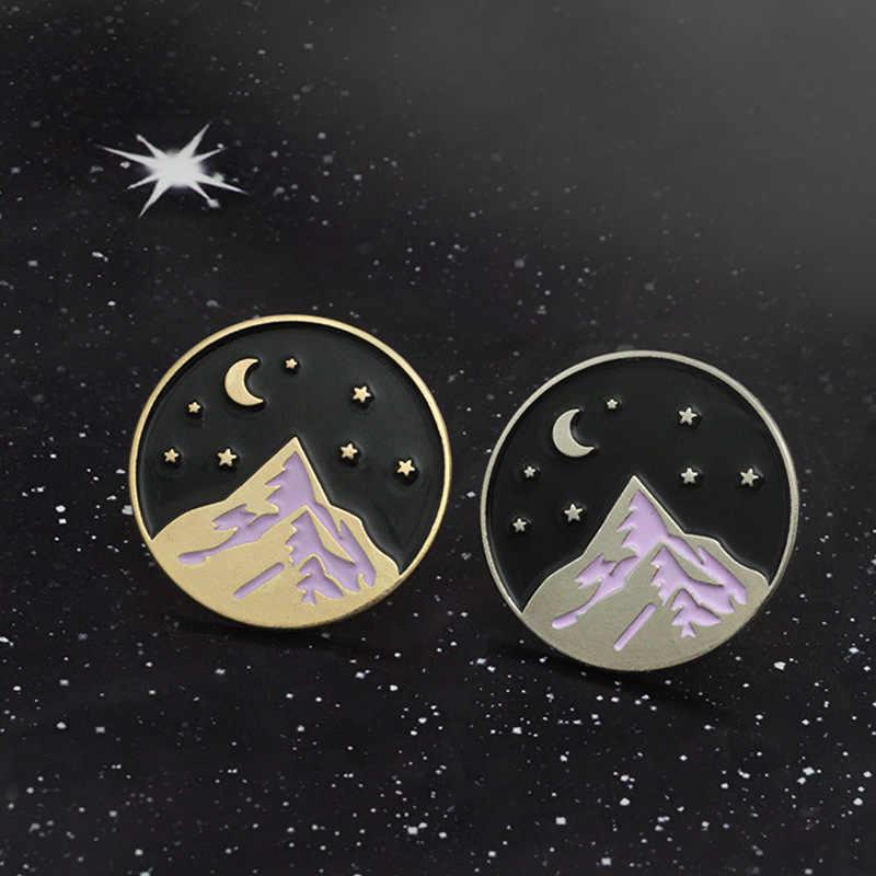 เคลือบ DENIM กางเกงยีนส์ธุรกิจชุด Silver Snow Mountain เสื้อกระเป๋าหมวก Starry Night Moon Badge เข็มกลัดสีทอง