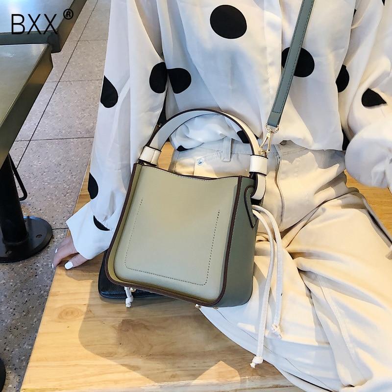 [BXX] Fashion Large Capacity Bucket Shoulder Bag Women Crossbody Bag Female All-match Large Capacity PU Leather Handbag HE418