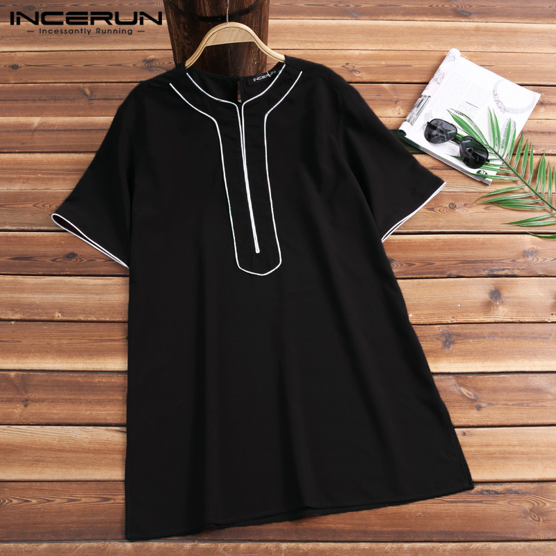 INCERUN 2019 Casual T-shirt Men Cotton Short Sleeve Fashion Men Tee Shirt Fitness Breathable Dashiki African T-shirt Men Clothes
