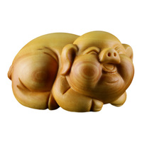 WSHYUFEI Boxwood Carvings Animals Piglets Handlebars Carving Craft Gifts Home Accessories Woodcut Tea And Pigs