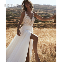 BRITNRY Free Shipping LORIE Boho Wedding Dress 2019 Appliqued Lace Tulle A Line Sexy Beach Bride Dress Wedding Gown