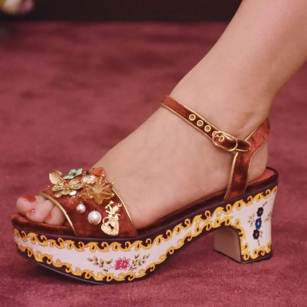 Decoración Oro As Zapatos Mujeres Show Retro Sandalias Cristal De Plataforma Show Mujer Palacio Perlas as Diamantes Las Flores Impresión 2018 Pasarela Tzw6P0Tx