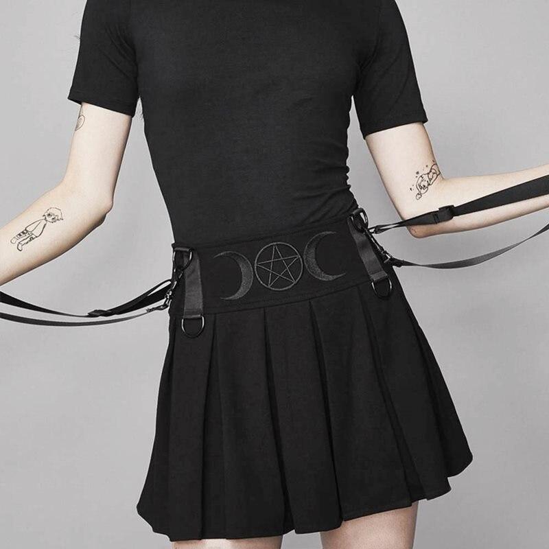 Rosetic Suspender Pleated Skirt Mini Women Summer Embroidery Moon Pentagram Goth Girl High Waist Streetwear School Black Skirts