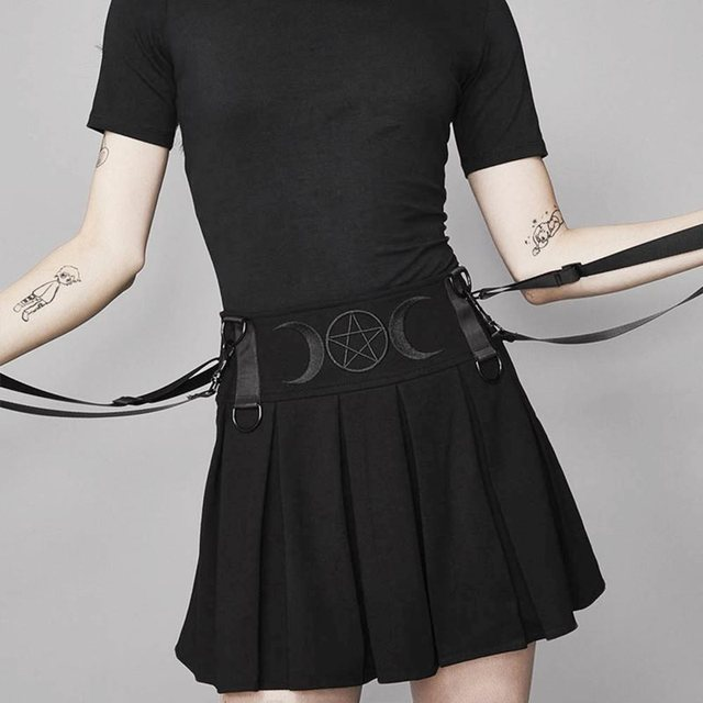 Rosetic Suspender Pleated Skirt Mini Women Summer Embroidery Moon Pentagram Goth Girl High Waist Streetwear School Black Skirts