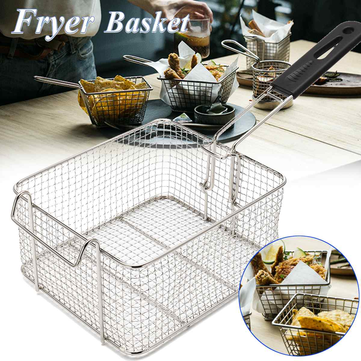 21x18cm Stainless Steel Fat Fryer Basket Home Restaurant Fish Chip French Fries Basket Strainer Frying Strainers Kitchen Tools