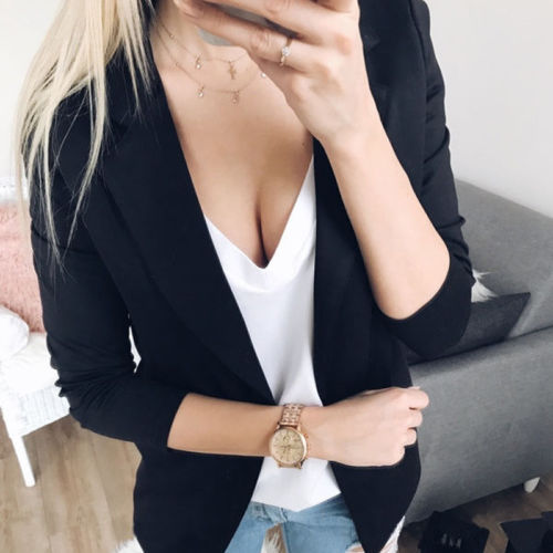 Top Casual Solid Autumn Formal Slim Coat Outwear Lady Women Long Sleeve Cardigan Jacket Casual Office Suit