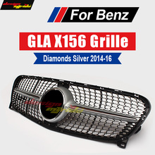 X156 Diamond Grille ABS Silver without central logo Front Bumper Grille For Mercedes Benz GLA X156 GLA180 GLA200 GLA250 2014-16 for mercedes benz gla x156 front grille silver abs gla45 amg gla180 gla200 gla250 without central logo front racing grille 14 16
