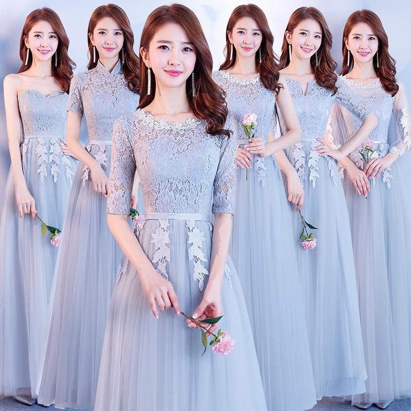 fashion lace   Bridesmaid     Dresses   Bridal Prom Net yarn   Dress   gray vestido madrinha Gowns The banquet Gowns brautjungfernkleid