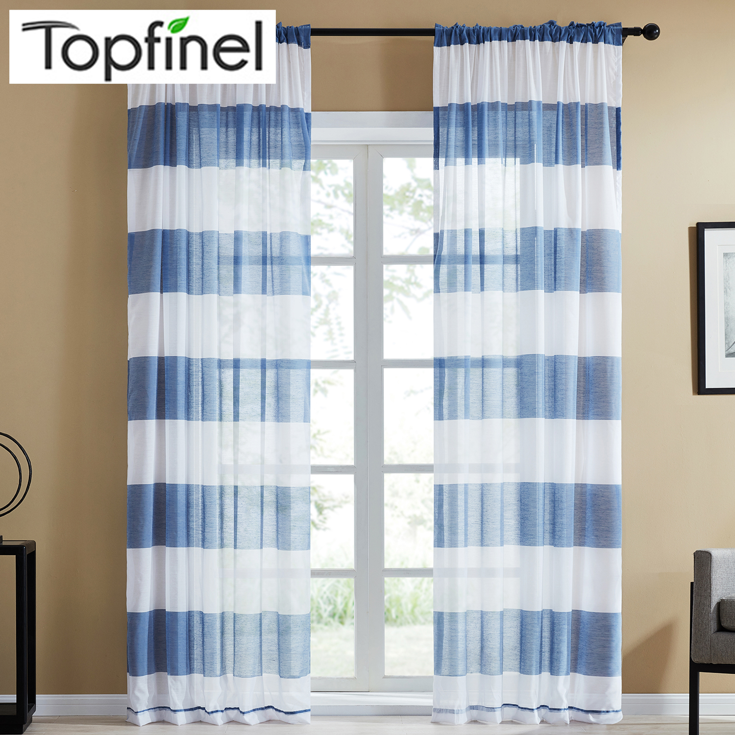 Topfinel Dark Gray Semi Voile Sheer Curtains For Bedroom Kitchen Living Room Stripe Home Decorative Tulle On Windows 5 Color