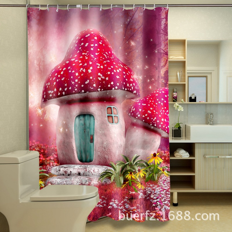 3D Red Mushroom House Printing Shower Curtain Waterproof Fancy Showr Curtains Unique For Bathroom