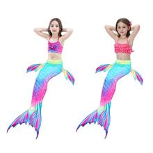 2019 Fashion Girls Gradient Color Fish Tails Swimsuit Bikini Sets Beach Cosplay Costume