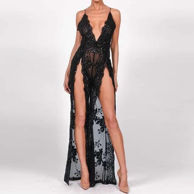 Sexy Women Sequins Maxi Long Dress Summer Strap Plunge V Backless High Split Luxury Nightclub Woman Party Dresses Vestido
