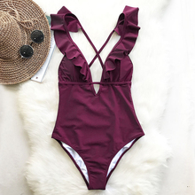 Summer Burgundy Heart Attack Falbala One-piece Swimsuit Women Ruffle V-neck Monokini 2019 Backless Beach Bathing Suit Swimwear
