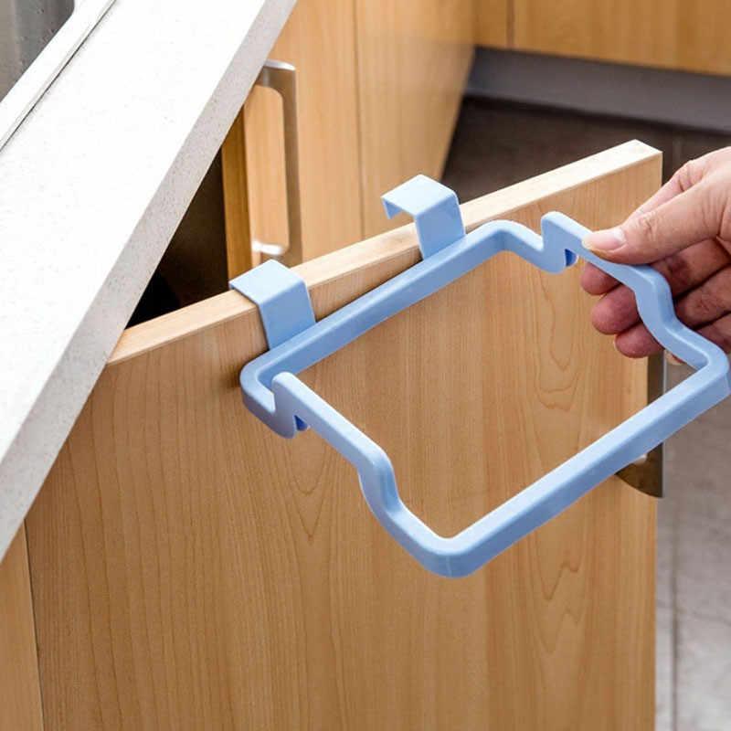 Cupboard Bag Clips Door Back Trash Rack Storage Garbage Bag Holder Hanging  Kitchen Cabinets Storage Towel Shelf Holders