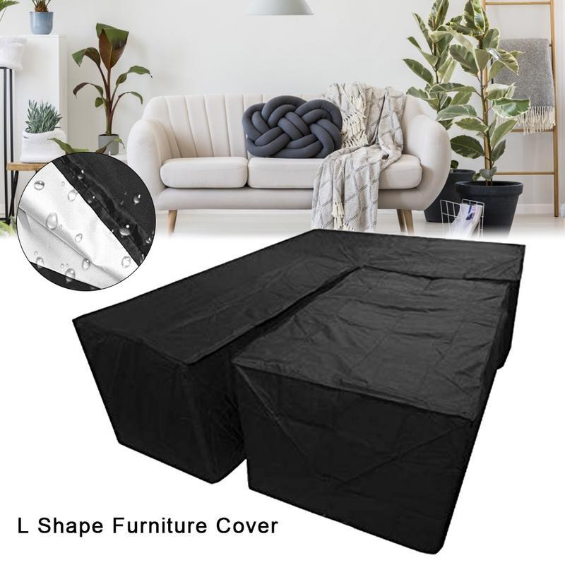 New 2Pcs Waterproof Dustproof L Shape Dust Cover Cube Corner Furniture Sofa Rattan Cover For Outdoor