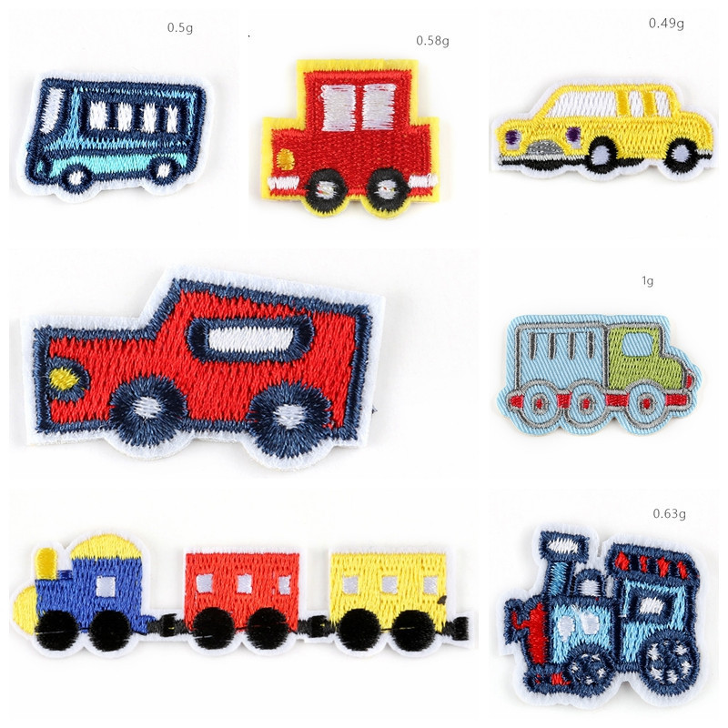 2019 Cartoon <font><b>Bus</b></font> and train Truck Embroidery Cloth <font><b>Patches</b></font> Children Appliques Accessory Badges Rubber Cute car wholesale <font><b>Patches</b></font> image