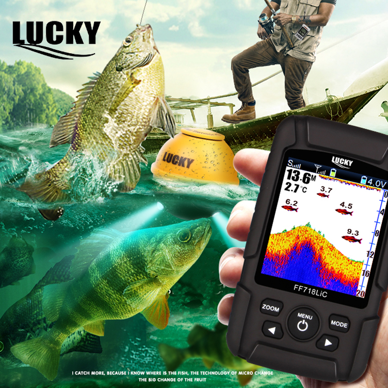 Lucky Portable Fishfinder Depth Echo Sounder LCD Waterproof 100m Fish Finder Wireless 45M/147Feet Sonar Russian Menu FF718LiC-WL lucky ff718lic portable 200khz 83khz dual frequency fish finder waterproof depth echo sounder wired transducer color lcd c3