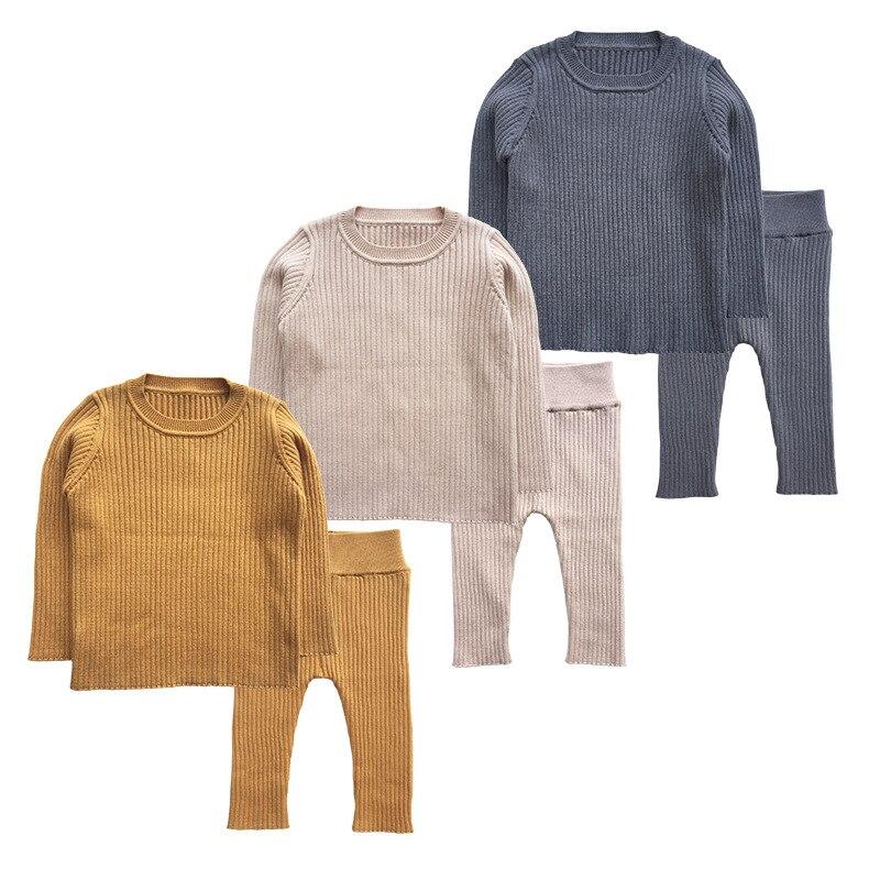 2019 printemps nouveau 9 M-4 T hiver bébé fille vêtements ensemble tricoté garçons ensemble chandails + pantalons 2 pièces enfants vêtements filles coton tricoté costumes