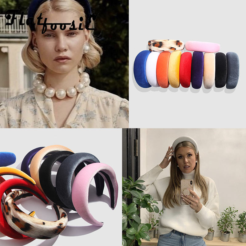 Flatfoosie Velvet Women Headband Head Woman 4.5CM Wide Plastic Hairband Fashion   Headwear   Bohemian Simple Black Charm Hairband