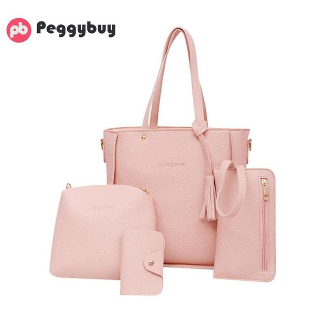 d092fbea1daa US $6.59 10% OFF|4PCS Women's Bag Set Fashion Litchi Print Handbag Tassel  Messenger Bag Shoulder Bag Wallet Lady PU Leather Crossbody Bag 2019-in ...