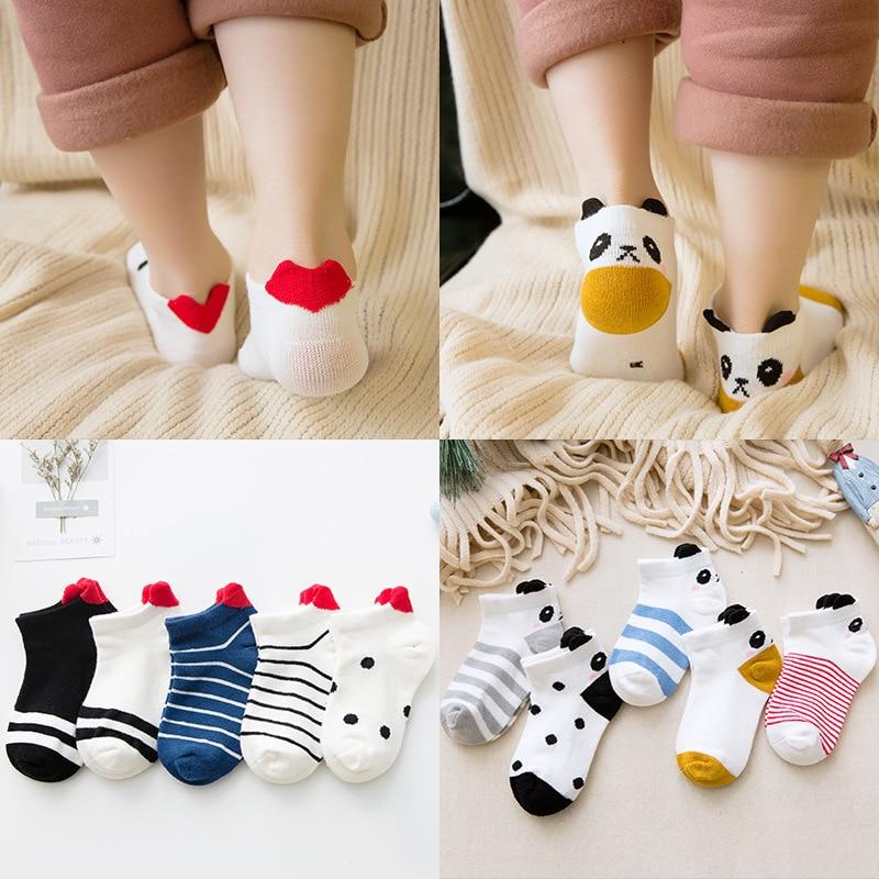 5Pairs/lot Children's Cotton Socks Boys Girls Cartoon Fashion Breathable Mesh Socks For Kids 1-12Yrs Socks Wholesale