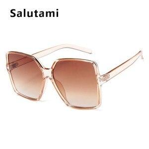 خمر كبير جدا ساحة النظارات الشمسية النساء الرجال الفاخرة العلامة التجارية الأسود البني كبيرة إطار نظارات شمسية الإناث ظلال Coulos