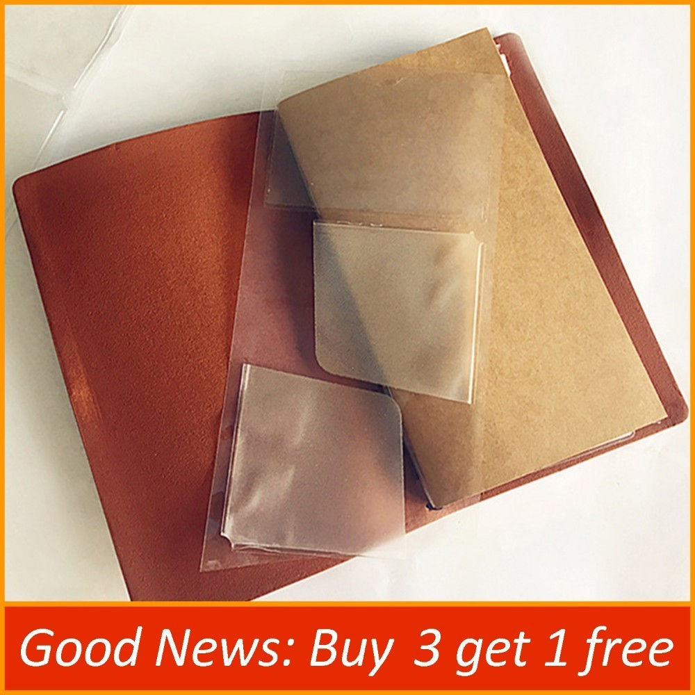 Hot Sale PVC Pocket Stickers Card Bag For Genuine Leather Notebook Cowhide Diary Spiral Multifuntional Card Storage