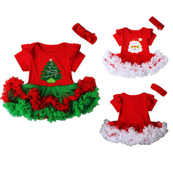 Babies Christmas Multi-style Cartoon Santa Ruffle Dress Newborn Baby Girl Cute Dress Headband Party Outfit Costume Xmas Clothes одежда на маленьких мальчиков