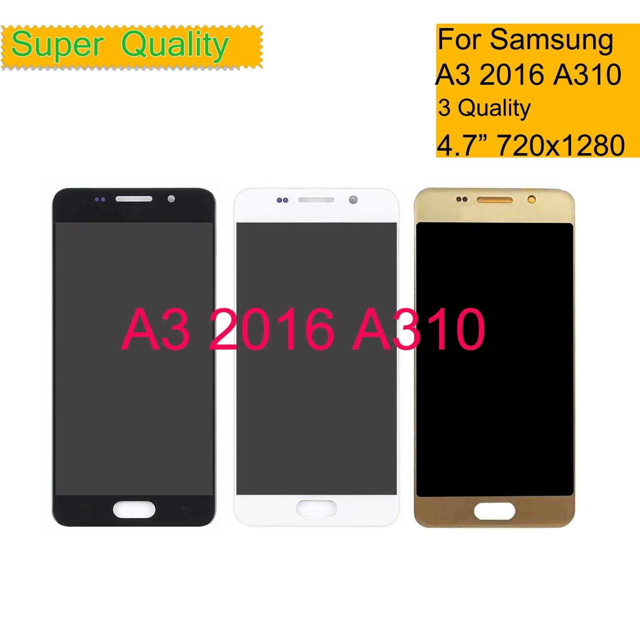 A310 pour Samsung Galaxy A3 2016 A310 A310F A310H A310M écran tactile numériseur verre LCD panneau d'affichage LCD assemblage complet